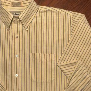 L.L. Bean Shirts - LL BEAN Men's 17.5 XL Dress Shirt Button Up Yellow